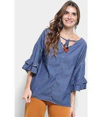 blusa jeans cantão bata boho blue manga babado feminina