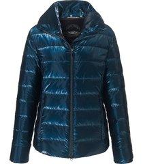 glanzende jas met staande kraag van green goose blauw