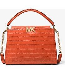 mk borsa a mano karlie media in pelle stampa coccodrillo - spezia arancio (arancio) - michael kors