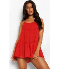 gekreukelde katoenen strand jurk met halter neck, red