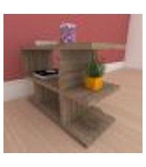 kit com 2 mesa de cabeceira slim com prateleira em mdf amadeirado