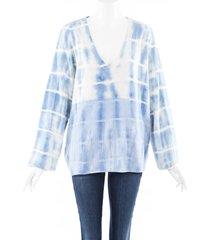 raquel allegra tie dye sweater blue/white sz: s
