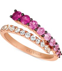 le vian strawberry layer cake multi-gemstone ombre wrap ring (1-1/8 ct. t.w.) in 14k rose gold