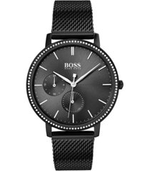 boss women's infinity ultra slim black ion-plated stainless steel mesh bracelet watch 35mm