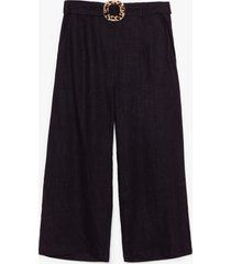 womens what the buckle belted linen culottes - black