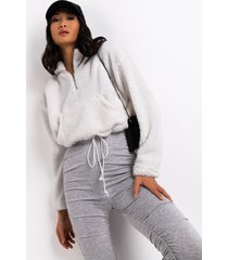 akira cozy tapes long sleeve half zip sweater