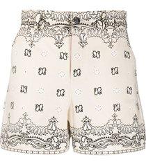 tory burch bandana-print cotton shorts - neutrals