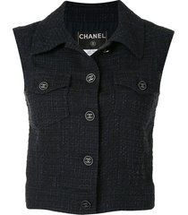chanel pre-owned 2001 woven buttoned vest - blue