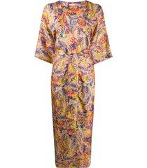 813 printed kimono coat - yellow