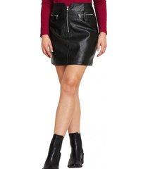 mini falda ecocuero cierres negro nicopoly