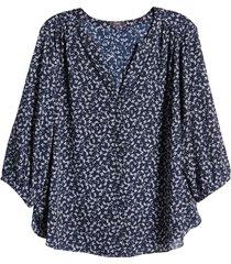 plus size women's nydj pintuck pleat crepe blouse, size 2x - blue