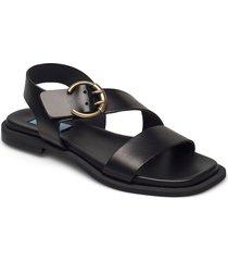 plain square buckle flat shoes summer shoes flat sandals svart apair