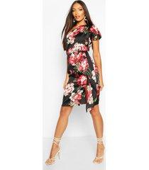 floral print one shoulder drape midi dress, black