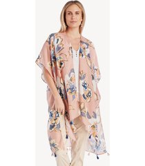 women's floral printed kimono blush multi one size from sole society