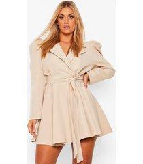 plus blazer wikkel jurk met pofmouwen en ceintuur, stone