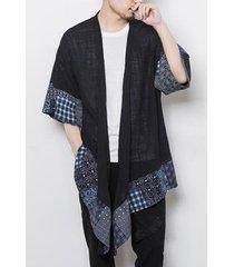 hombres algodón tribal irregular retro loose fit hanfu abrigo cardigan