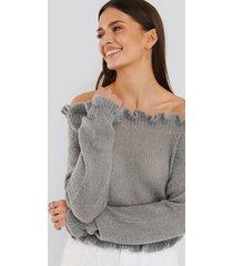 rut&circle stickad tröja - grey