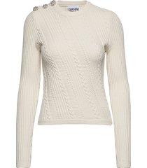 cotton knit gebreide trui crème ganni