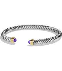 david yurman cable classics bracelet with semiprecious stones & 14k gold, 5mm, size medium in amethyst at nordstrom