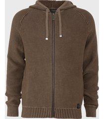 sweater ellus tejido hoodie full zipper marrón - calce regular