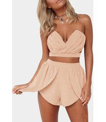 pink sexy cropped top & high waist shorts co-ord
