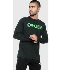camiseta manga larga negro-verde oakley