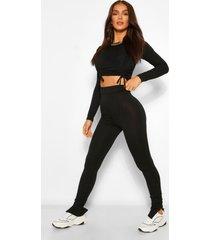 geribbelde top en legging set met ruches, zwart