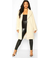 plus soft faux fur oversized coat, cream