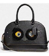 nwt coach f22780 bear mini sierra black coated handbag $350 limited edition