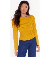 womens as long as you puff me button blouse - mustard