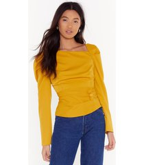 womens as long as you puff me button blouse - mustard