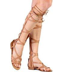 rasteira couro uza gladiadora flat amarrações feminina