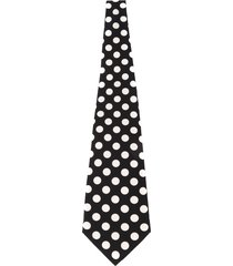 dolce & gabbana black & white polka dot silk tie