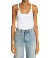 toteme women's rib stretch organic cotton tank, size x-small in white at nordstrom