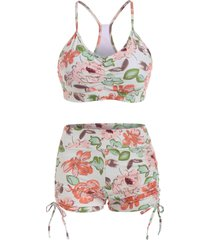 floral cinched ruched boyshorts tankini swimwear
