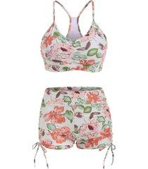 floral cinched ruched boyshorts tankini swimwear