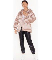 womens padded belted hi shine jacket - pearl