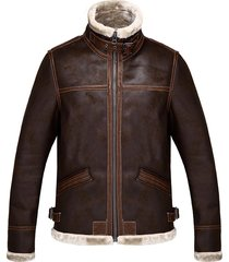 men's resident evil leon stand collar brown pu leather jacket coat outerwear