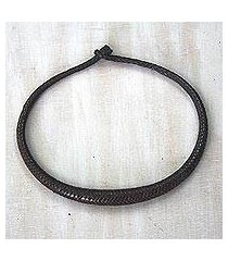 braided leather necklace, 'mpusia in brown' (ghana)