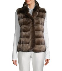 latch front dyed mink fur vest