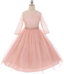 blush long sleeve stretchy lace bodice tulle skirt with belt flower girl dress
