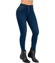 jeans mujer slim fit con tobillero efecto wow saramanta