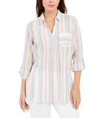 charter club vertical-stripe popover top, created for macy's