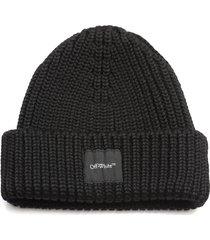 off-white rib beanie hat