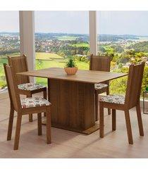 conjunto sala de jantar madesa luana mesa tampo de madeira com 4 cadeiras - rustic/floral hibiscos marrom - marrom - dafiti
