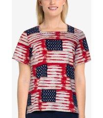 alfred dunner women's missy americana flag print top