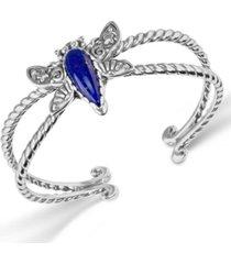 lapis gemstone dragonfly cuff bracelet, sterling silver