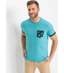 t-shirt met gedessineerde borstzak en omslag