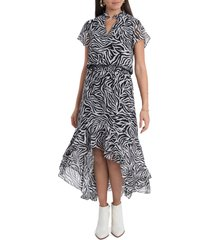 1.state wildlfower bouquet high/low dress, size x-small in chic zebra at nordstrom