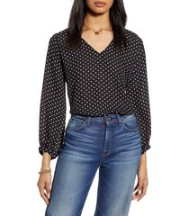 women's halogen v-neck blouse, size x-small - black